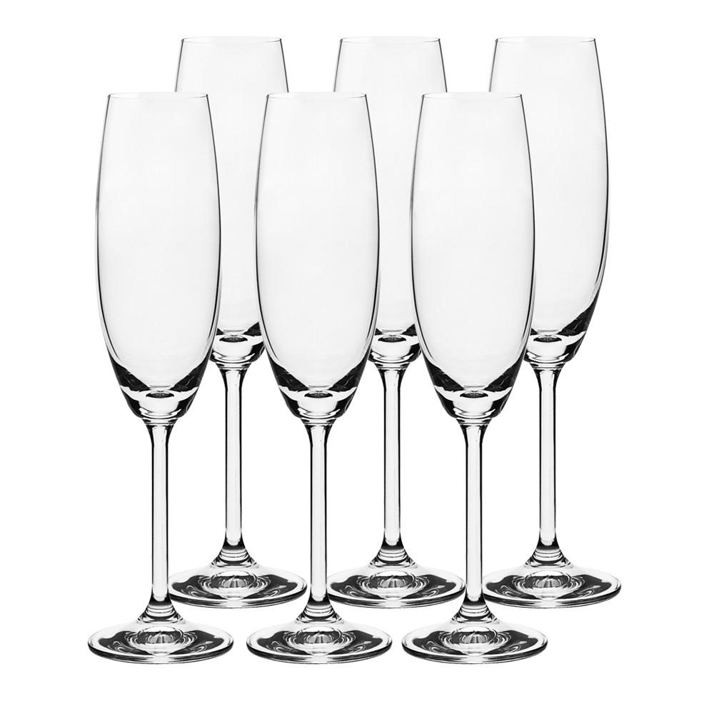 Jogo de Tacas de Cristal Ecologico para EspumanteChampanhe 6 Pecas 220ml - 56079 - Full Fit
