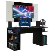 Mesa para Computador Gamer Madesa 9409 e Painel para TV até 58 Polegadas Preto/Branco
