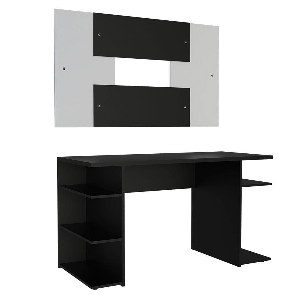 Mesa para Computador Gamer Madesa 9409 e Painel para TV ate 58 Polegadas PretoBranco