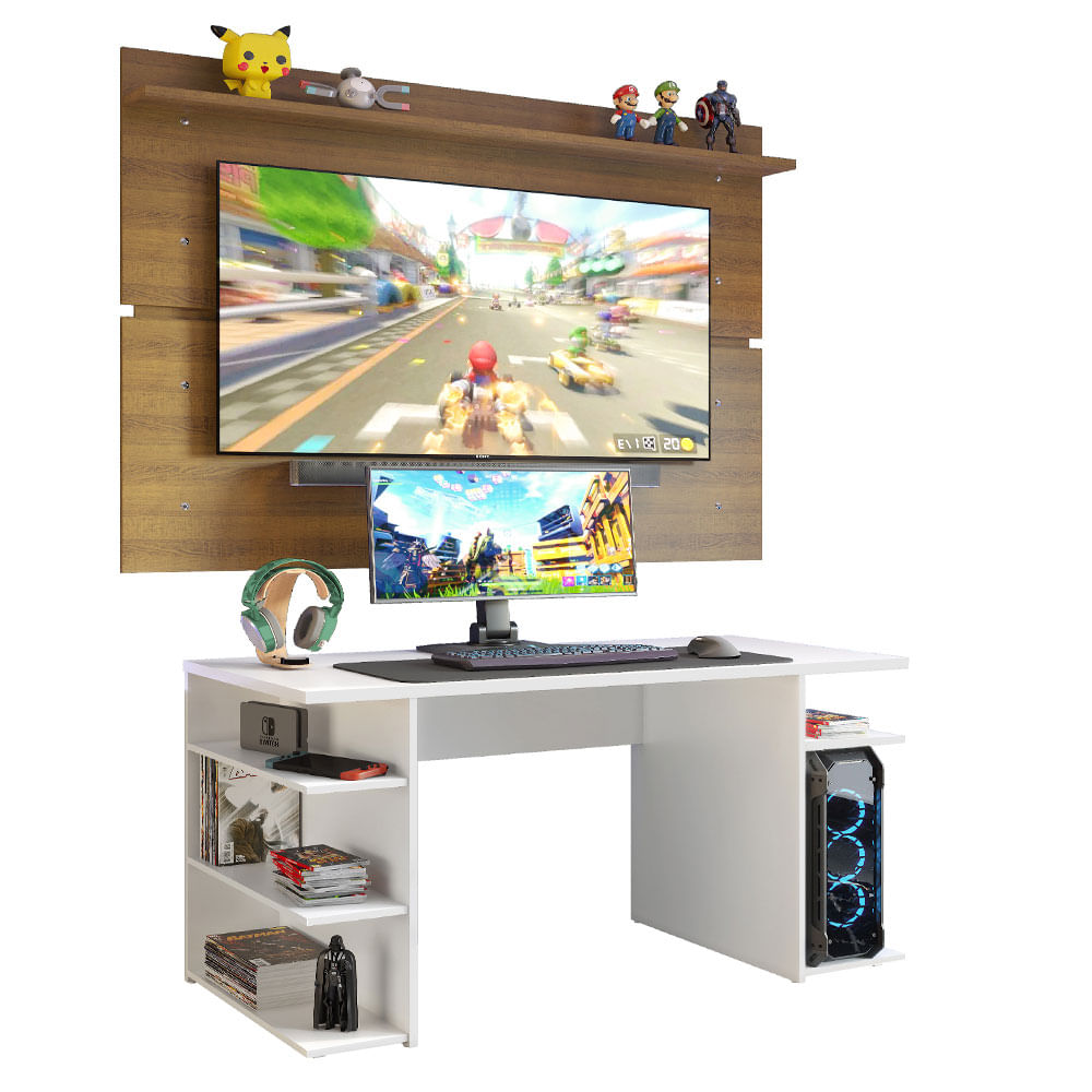 Mesa para Computador Gamer Madesa 9409 e Painel para TV ate 65 Polegadas BrancoRustic