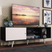 Rack Madesa Dubai para TV até 65 Polegadas com Pés Preto/Branco