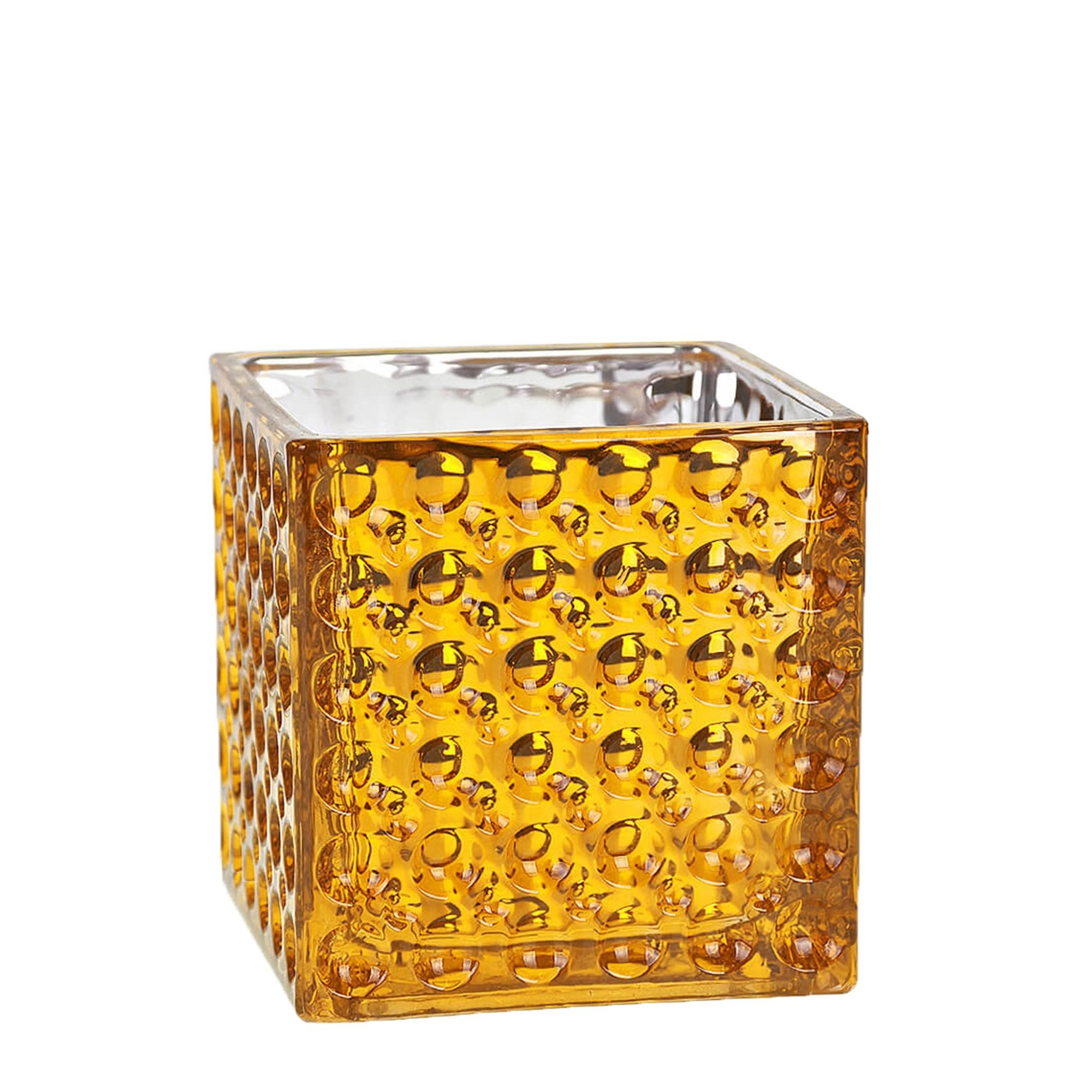 Vaso Decorativo de Vidro Quadrado 10cm Dourado