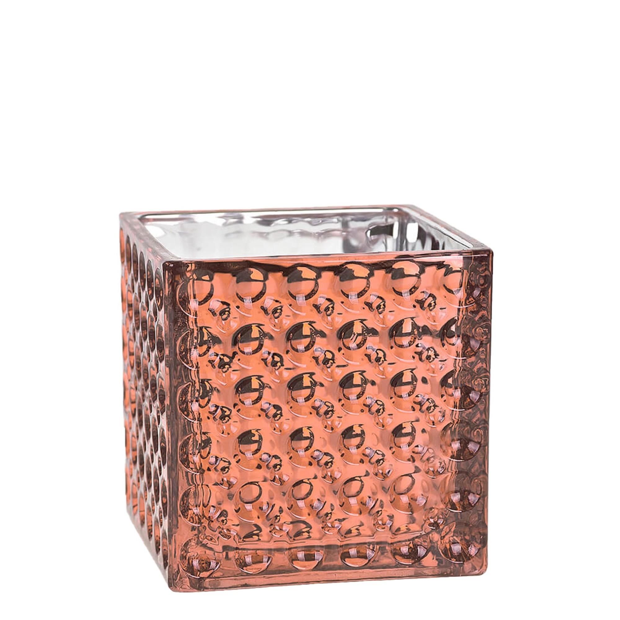 Vaso Decorativo de Vidro Quadrada 10cm Bronze