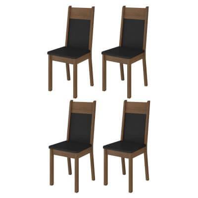 Kit 4 Cadeiras 4280 Madesa RusticPreto