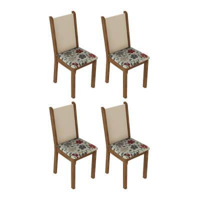 Kit 4 Cadeiras 4291 Madesa RusticCremaHibiscos