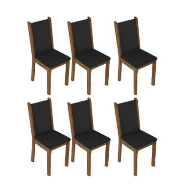 Kit 6 Cadeiras 4291 Madesa RusticPreto