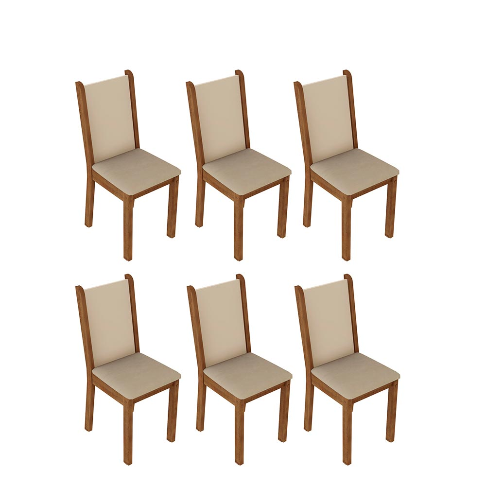 Kit 6 Cadeiras 4291 Madesa RusticCremaPerola