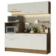 Armário de Cozinha Compacta Madesa Onix com Balcão Rustic e Branco