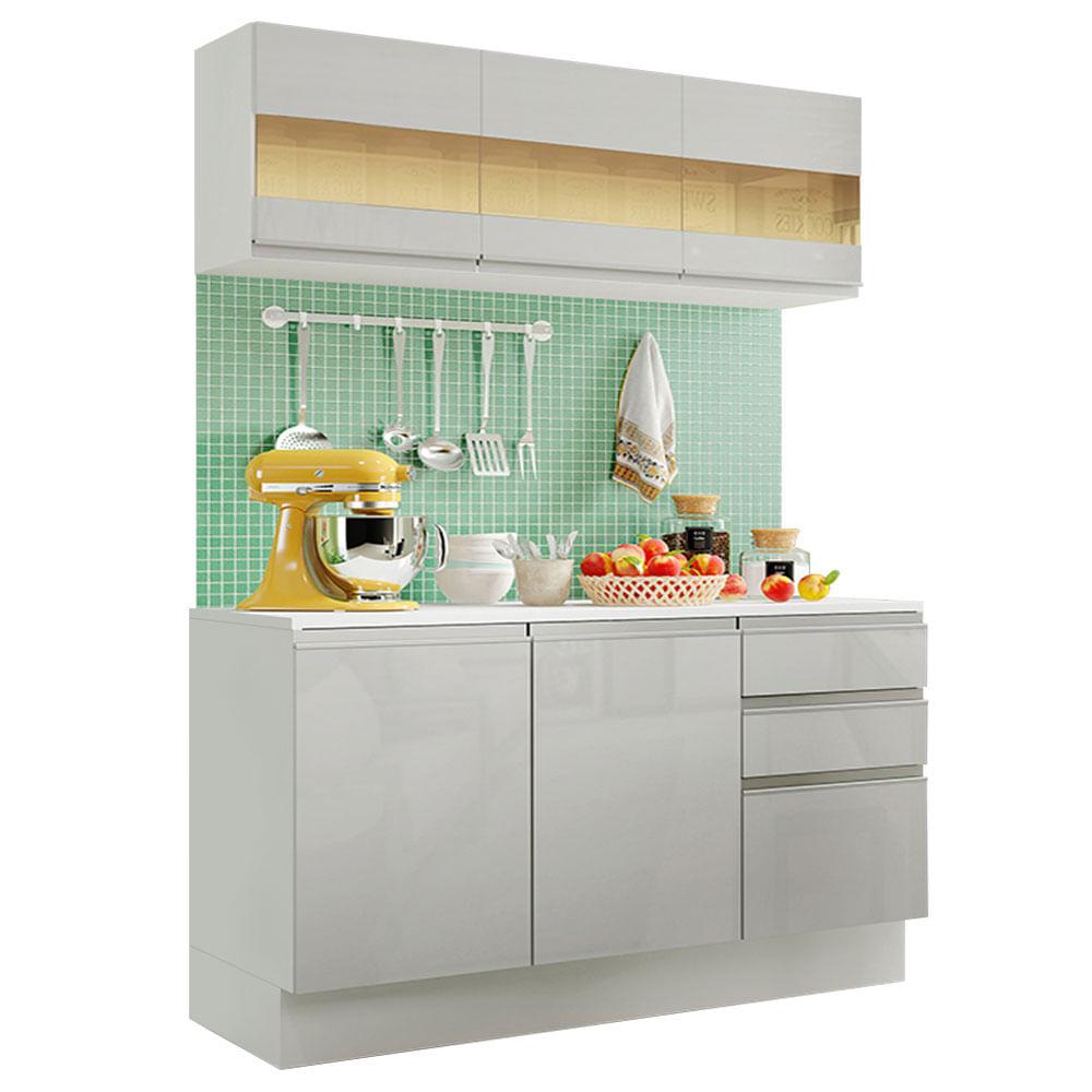 Armario de Cozinha Compacta Madesa Smart MDF 120 cm com Balcao e Tampo Frentes Branco Brilho