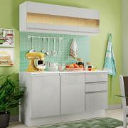 Armário de Cozinha Compacta Madesa Smart MDF 120 cm com Balcão e Tampo Frentes Branco Brilho