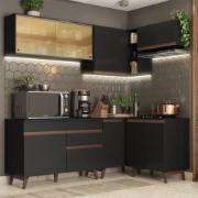 Armário de Cozinha Completa de Canto Madesa Reims com Balcão e Aéreo Preto