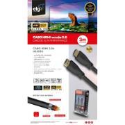 Cabo HDMI 2.0V 3D READY 4K ULTRAHD de 3 Metros Preto - ELG