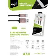 Cabo USB Micro Tecido Natural Reforçado Tipo C 1 Metro Preto - ELG