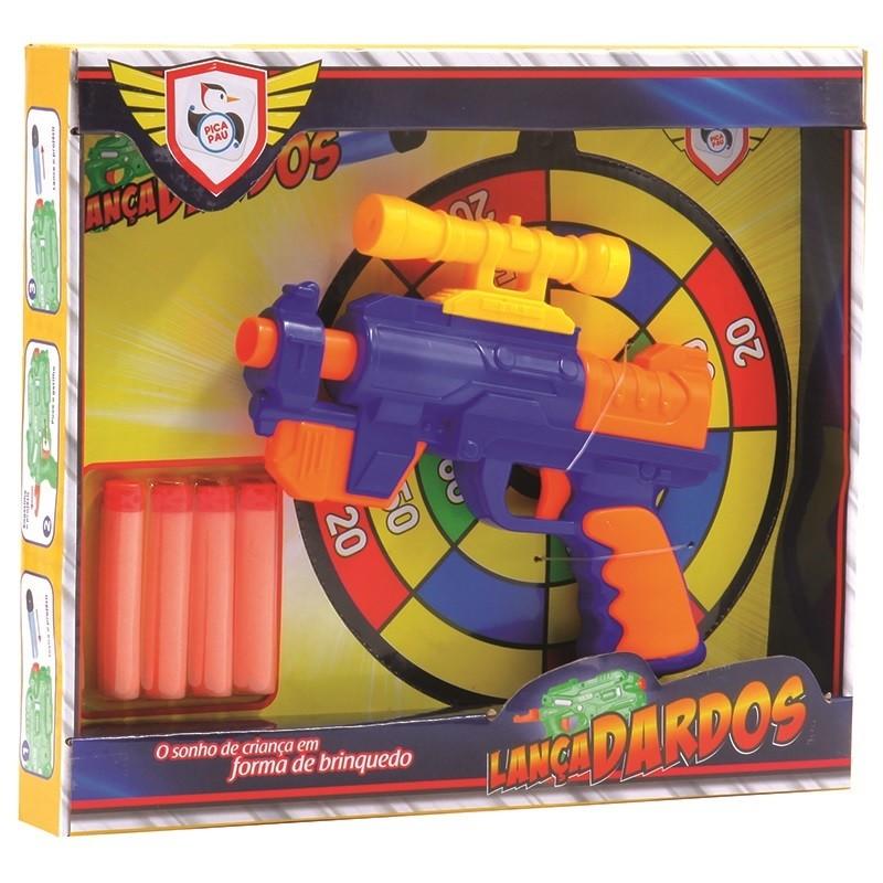 Brinquedo Lanca Dardos Super Gun Colorido - Pica Pau