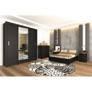 Guarda-roupa Casal com Espelho 3 Portas Preto - Malibu