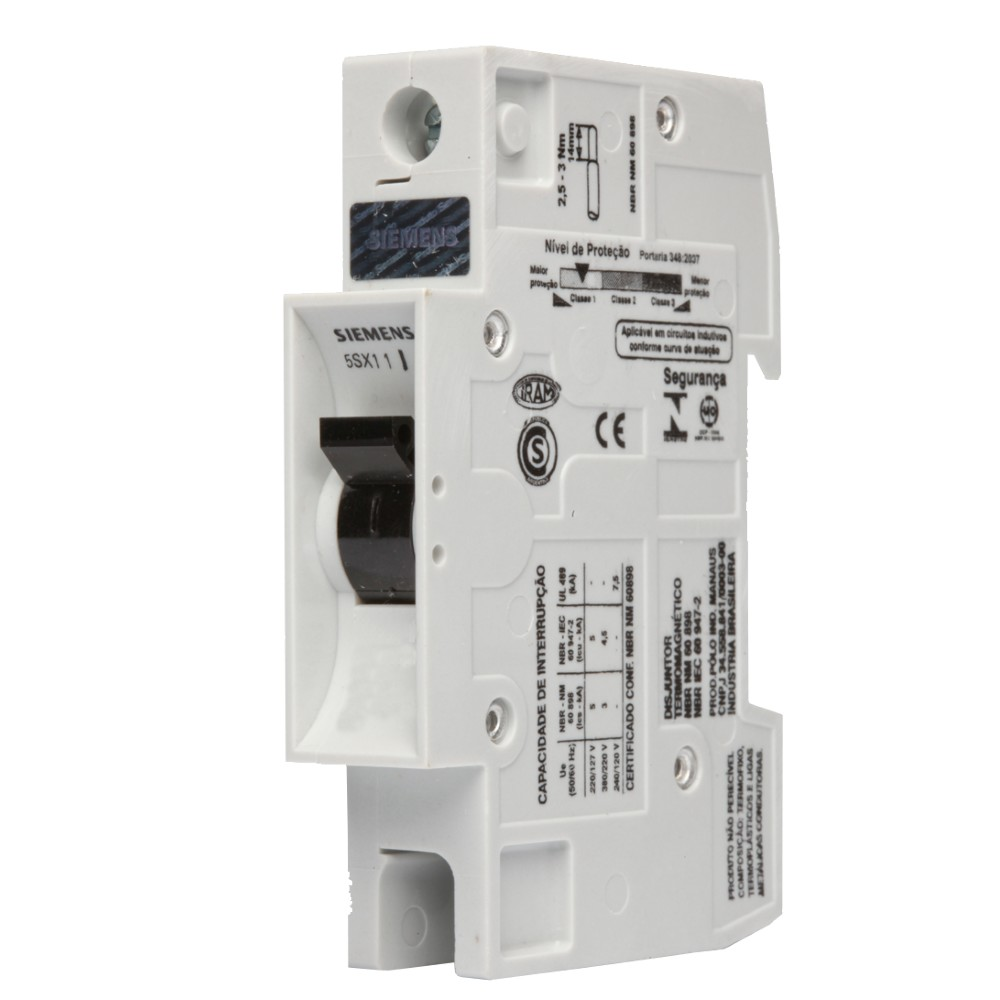 Disjuntor Unipolar C 50A Din 5 Sx1 150-7 - Siemens