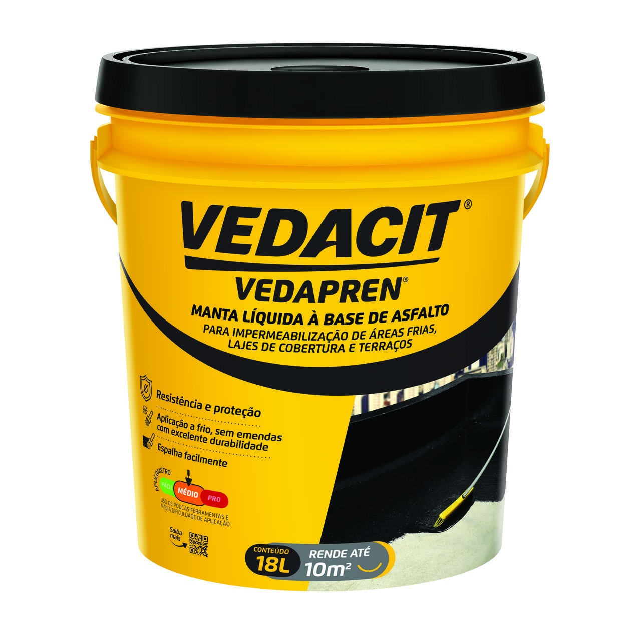 Manta Liquida Vedapren Preto 18L - Vedacit