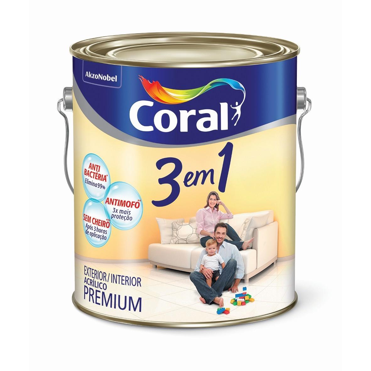 Tinta Acrilica Fosco Premium 36L - Branco Gelo - 3 Em 1 Coral