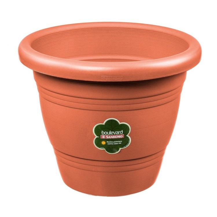 Vaso para Plantas 135cm x 285cm Redondo Plastico Marrom - Sanremo
