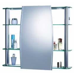 Armario Para Banheiro Circular Aluminio E Vidro 639 x 356 com Luminaria 1300 - Cris Metal