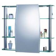 Armário Para Banheiro Circular Alumínio E Vidro 63,9 x 35,6 com Luminária 1300 - Cris Metal