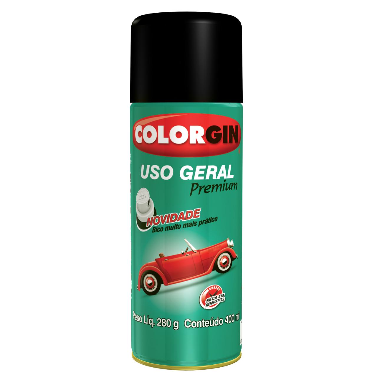 Tinta Spray Brilhante Uso Geral Interno e Externo Rapido - Branco - 400ml - Colorgin