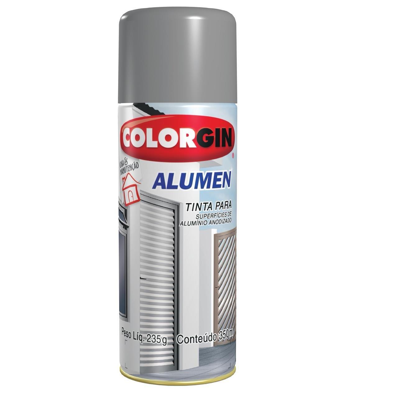 Tinta Spray Metalico Alumen Interno e Externo - Aluminio - 350ml - Colorgin