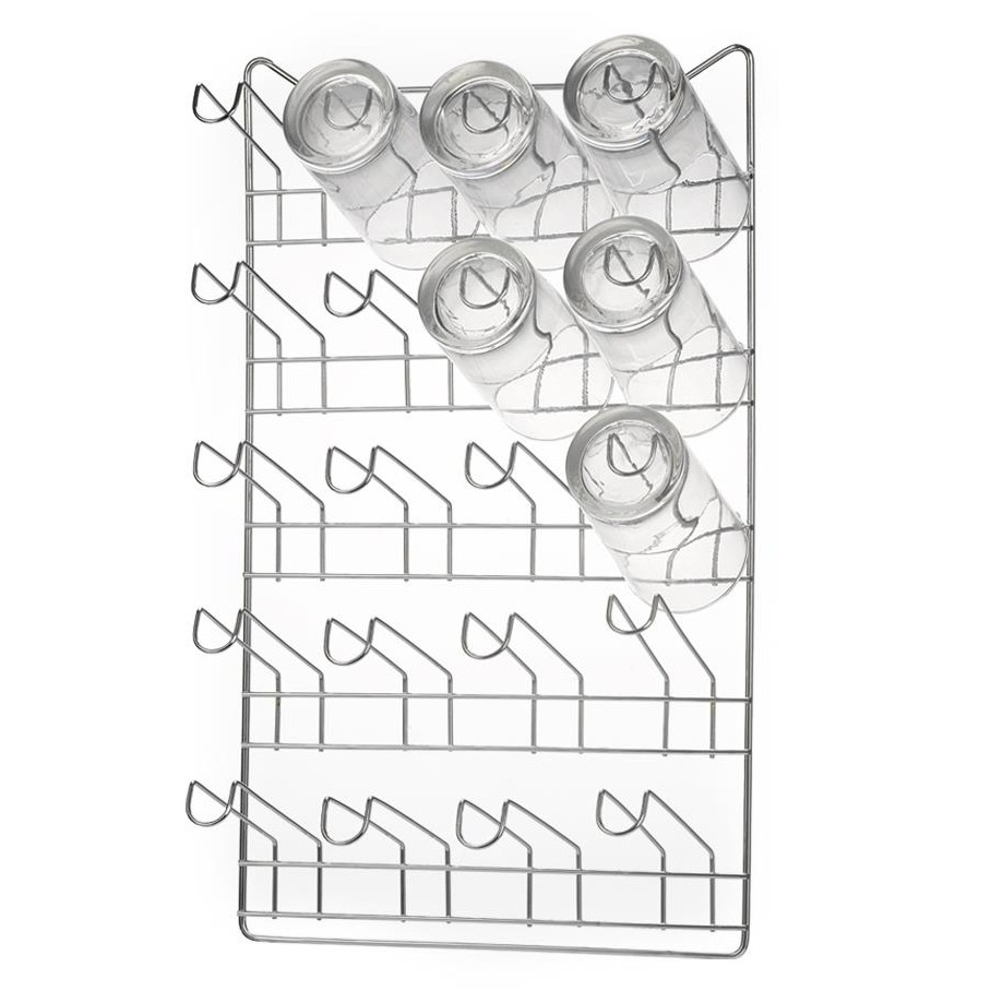 Escorredor de Copos de Aco Cromado 20 Copos Prata - Arthi
