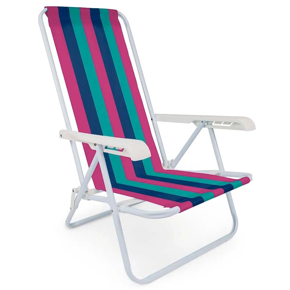 Cadeira de Praia Aco Reclinavel 4 Posicoes 2004 - Mor