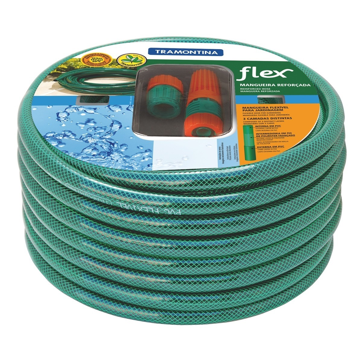 Mangueira Flex Trancada em PVC 3 Camadas 10m - Tramontina