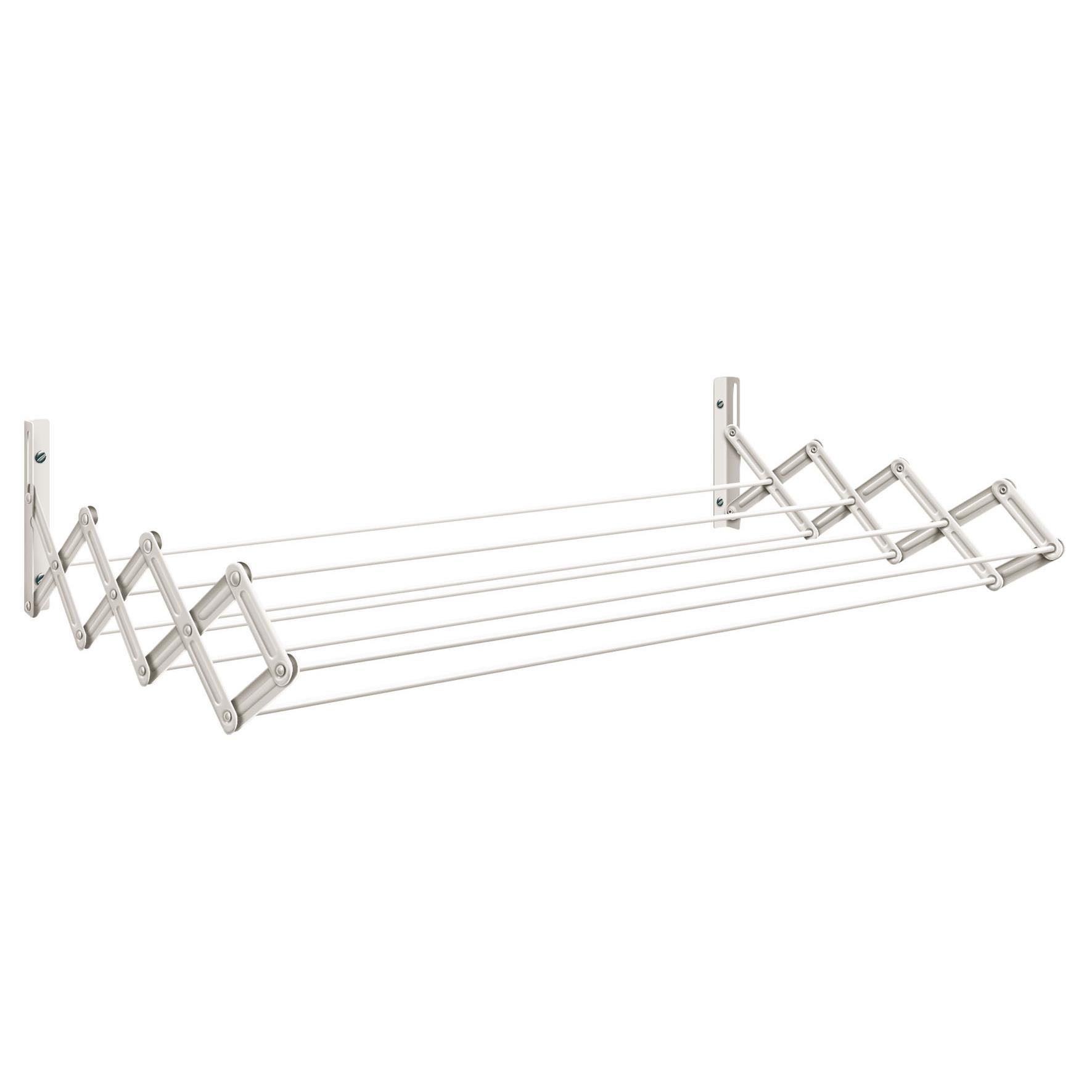 Varal de Parede Sanfonado de Aco 80x42cm Prata 21020 - Secalux