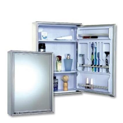 Armario Para Banheiro Retangular Poliestireno Moldado 585 x 440 com Luminaria 105 - Cris Metal
