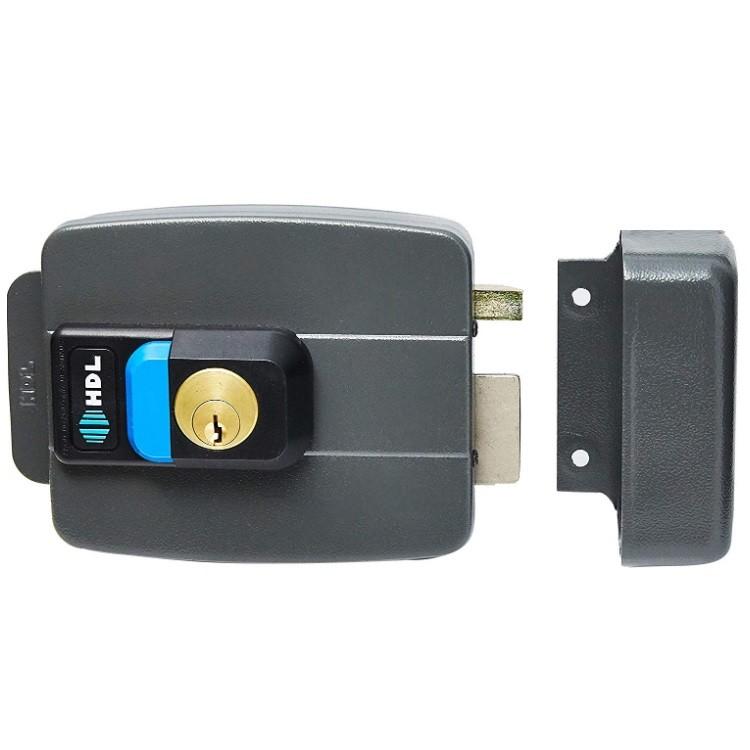 Fechadura Eletrica C90 HDL com Abertura para Dentro e Botao 12V - Preta