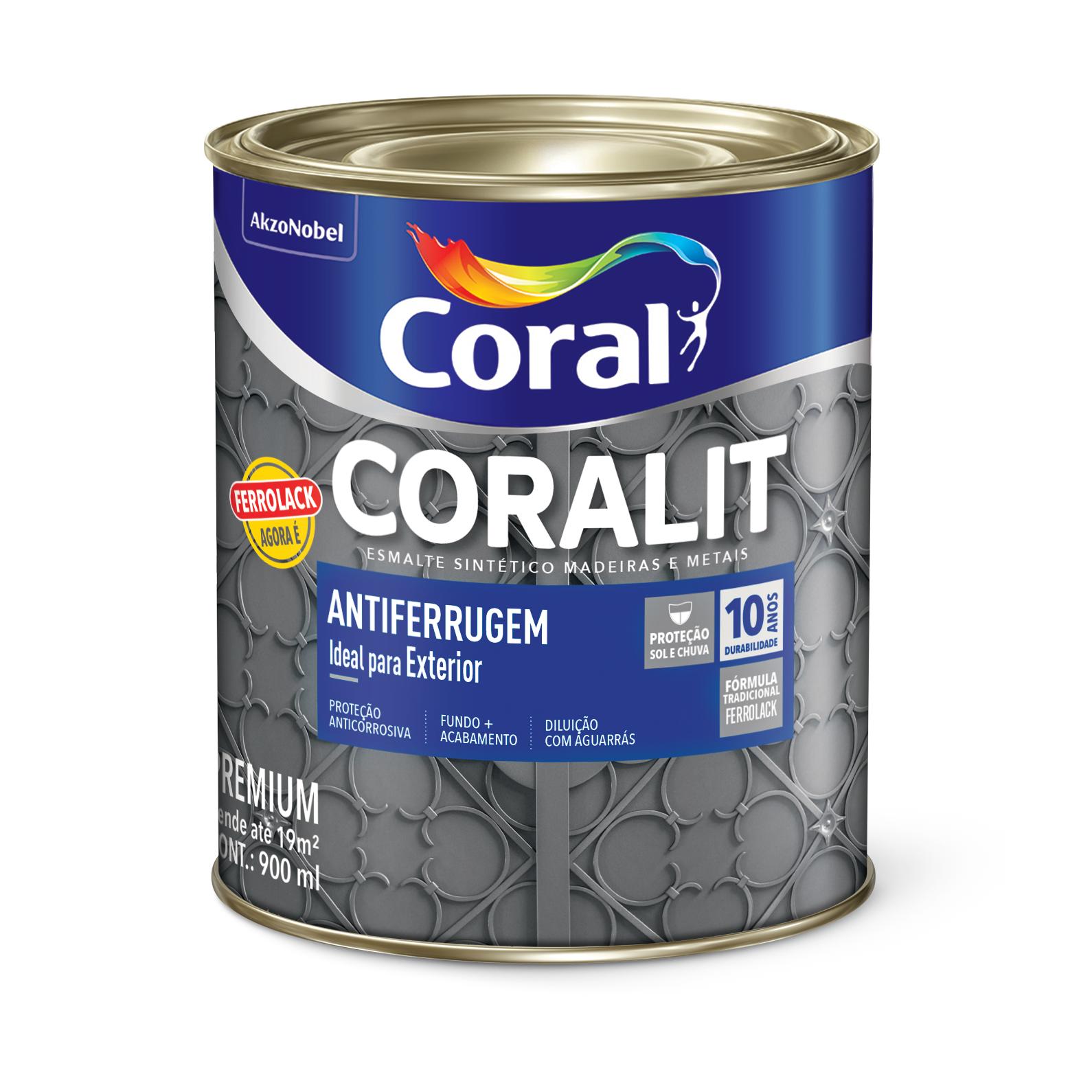Tinta Esmalte Sintetico Coralit Antiferrugem 09L Cinza - Coral