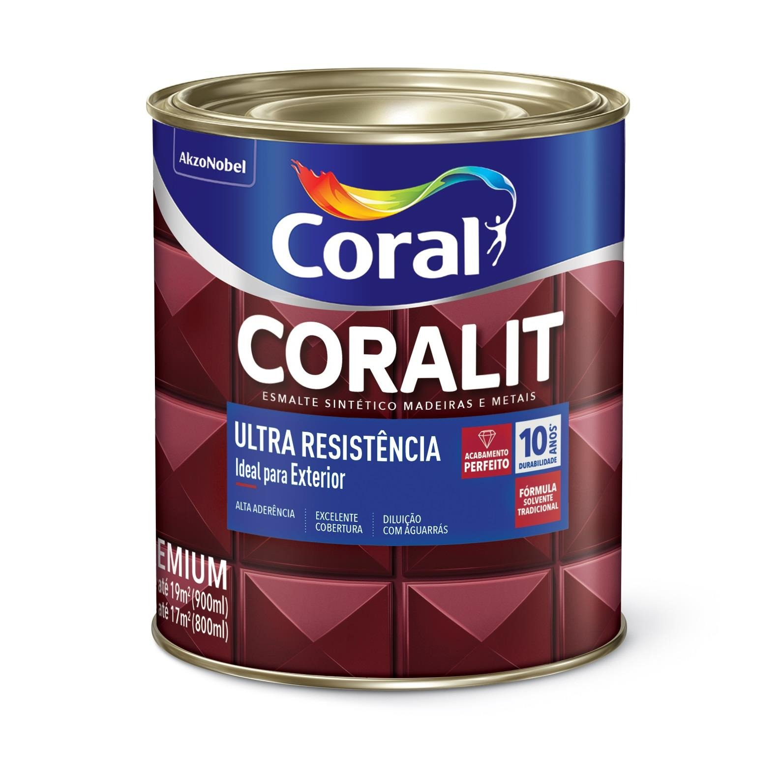 Tinta Esmalte Sintetico Alto brilho Premium 09L - Marrom Conhaque - Coralit Coral