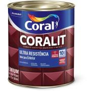 Tinta Esmalte Sintético Alto brilho Premium 0,9L - Marrom Conhaque - Coralit Coral