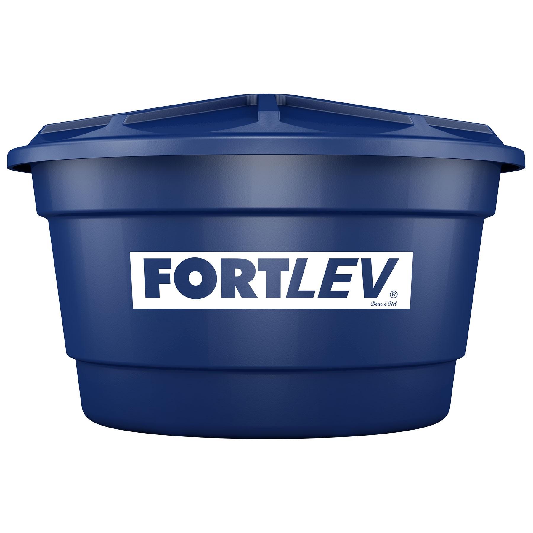 Caixa Dagua de Polietileno com Tampa 500L Azul - Fortlev