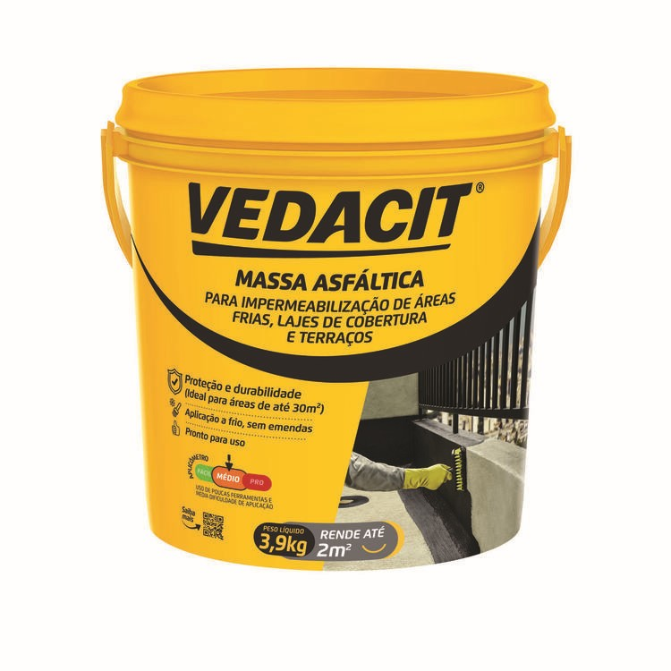 Massa Betuminosa para Impermeabilizacao Frioasfalto 39kg - Vedacit