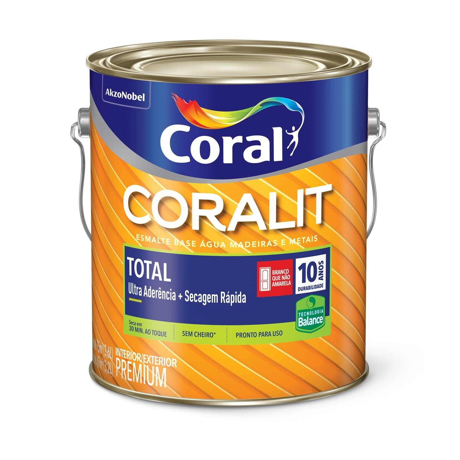 Tinta Esmalte Sintetico Acetinado Premium 36L - Branco Neve - Coralit Zero Coral