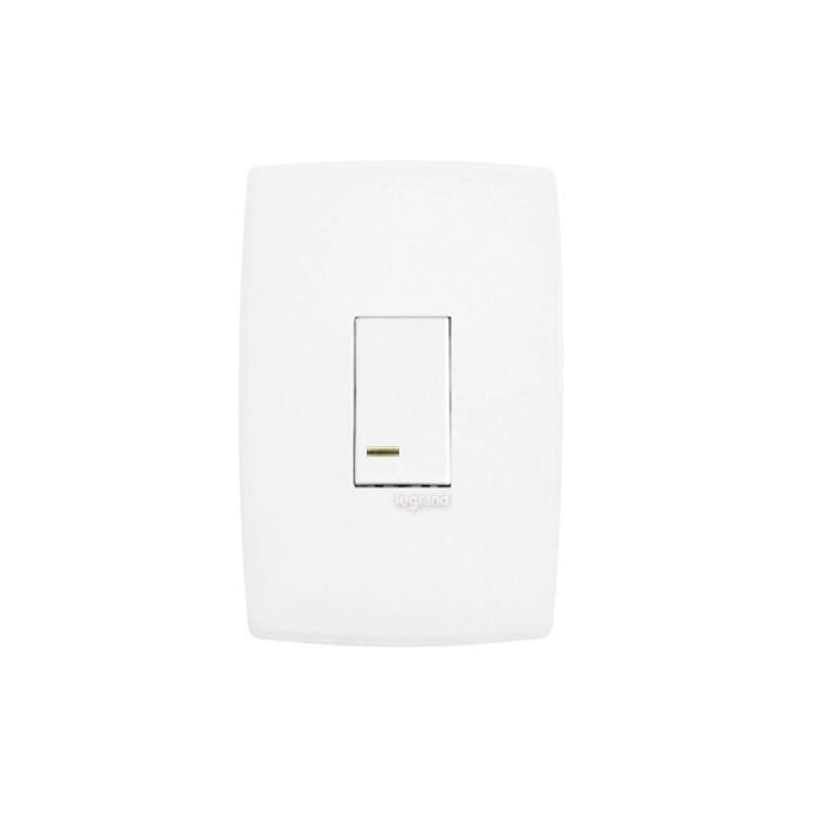 Conjunto Interruptor Simples 1 Modulo Com LED 10A - Branco - Plus - Legrand