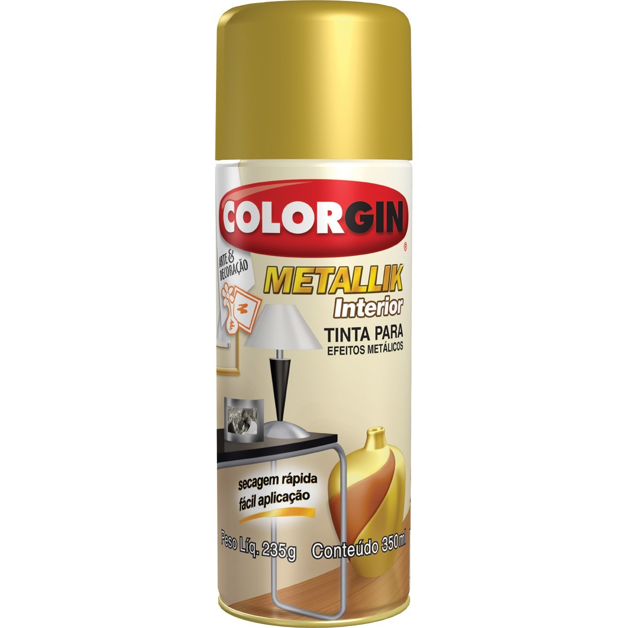 Tinta Spray Metalico Metallik Interno - Dourado - 350ml - Colorgin