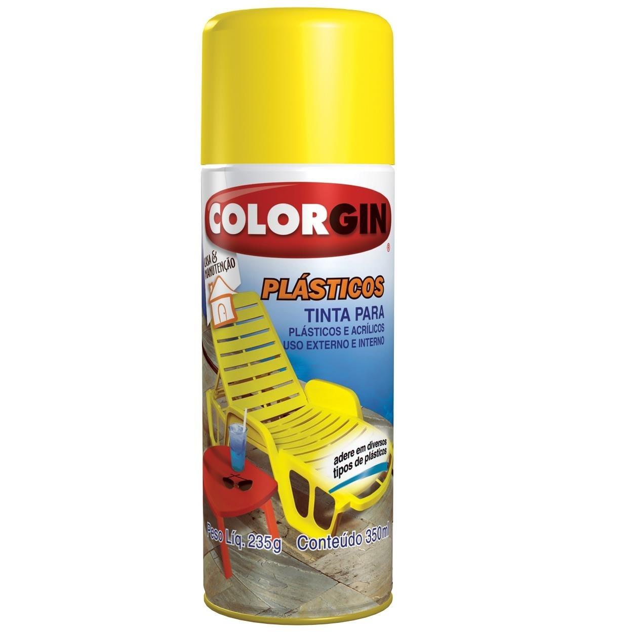Tinta Spray Brilhante Plastico Interno e Externo - Azul - 350ml - Colorgin